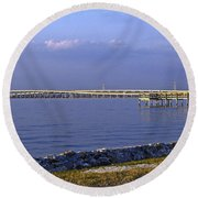Peace River Bridge Round Beach Towel
