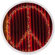 Peace Sign Christmas Lights Round Beach Towel