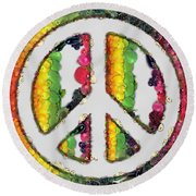 Peace Sign Fruits And Vegetables Round Beach Towel