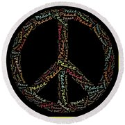 Peace Symbol - 0202 Round Beach Towel by Variance Collections