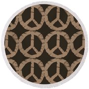 Peace Symbol Collage Round Beach Towel