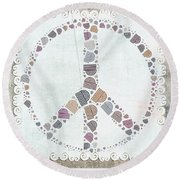Peace Symbol Design - S76at02 Round Beach Towel