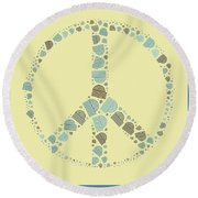 Peace Symbol Design - Y87d Round Beach Towel by Variance Collections