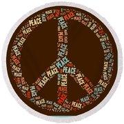 Peace Symbol Retro - 0103b  Round Beach Towel