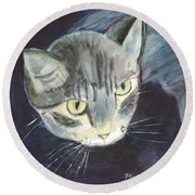 Peace The Cat Round Beach Towel