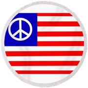 Peace Usa Flag Round Beach Towel