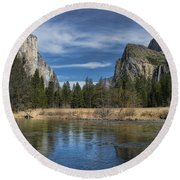 Peaceful Afternoon In Yosemite Round Beach Towel
