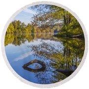Peaceful Autumn Round Beach Towel