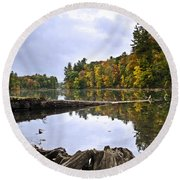 Peaceful Autumn Lake Round Beach Towel by Christina Rollo