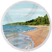 Peaceful Beach At Pier Cove Round Beach Towel by Michelle Calkins