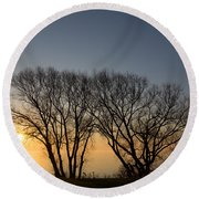 Peaceful Blues And Golds  Round Beach Towel