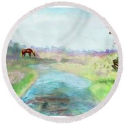 Peaceful Day Round Beach Towel