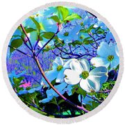 Peaceful Dogwood Spring Round Beach Towel