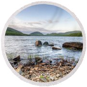 Peaceful Early Morning At Eagle Lake Round Beach Towel