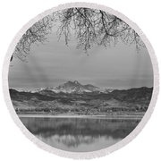 Peaceful Early Morning First Light Longs Peak View Bw Round Beach Towel