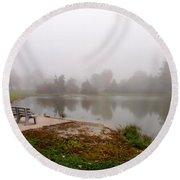 Peaceful Foggy Morning Marr Park Round Beach Towel