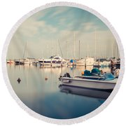 Peaceful Harbour Round Beach Towel