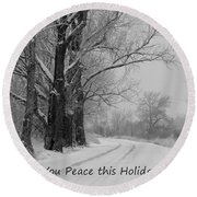 Peaceful Holiday Card Round Beach Towel