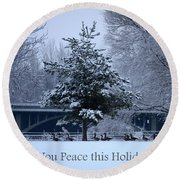 Peaceful Holiday Card - Winter Landscape Round Beach Towel