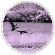 Peaceful Holidays Card - Winter Ducks Round Beach Towel