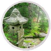 Peaceful Japanese Garden On Mount Desert Island Round Beach Towel by Edward Fielding