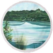 Peaceful Lake Round Beach Towel