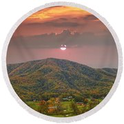 Peaceful Mountain Community Round Beach Towel