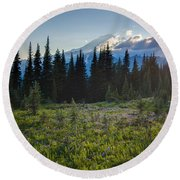 Peaceful Mountain Flowers Round Beach Towel