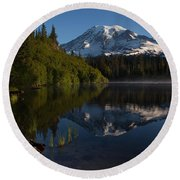 Peaceful Mountain Serenity Round Beach Towel