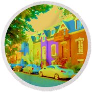 Peaceful Painted Pastel Rowhouses Printemps Plateau Montreal Scene Du Rue Carole Spandau Round Beach Towel