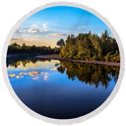 Peaceful Payette River Round Beach Towel
