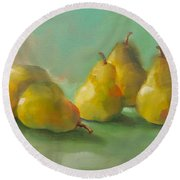 Peaceful Pears Round Beach Towel by Michelle Abrams