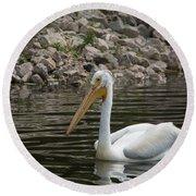 Peaceful Pelican Round Beach Towel