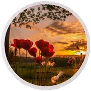 Peaceful Poppy Round Beach Towel