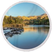 Peaceful River Round Beach Towel by Robert Bales