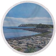 Peaceful View From Peaks Island Me Round Beach Towel