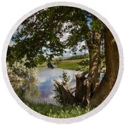Peaceful View Round Beach Towel by Robert Bales