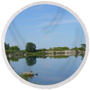 Peaceful Water Reflection At Tommy Thompson Park Round Beach Towel