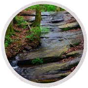 Peaceful Waterfall Round Beach Towel