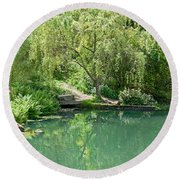Peaceful Willow Tree Art Prints Round Beach Towel