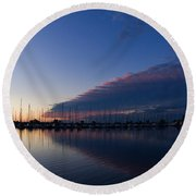 Peaceful Yachts And Sailboats Round Beach Towel