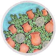 Peach Blossoms And Licorice Swirls Round Beach Towel