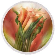 Peach Callas Round Beach Towel