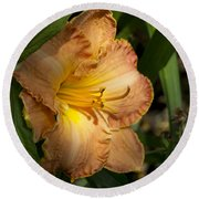 Peach Daylily Delight Round Beach Towel
