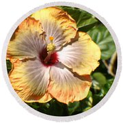 Peach Flower Round Beach Towel