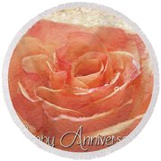 Peach Rose Anniversary Card Round Beach Towel