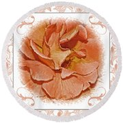 Peach Rose Sqrare Digital Paint Round Beach Towel