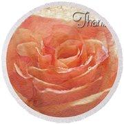 Peach Rose Thank You Card Round Beach Towel