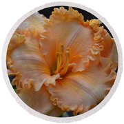 Peach Ruffled Lily Round Beach Towel