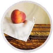 Peach Still Life Round Beach Towel